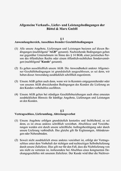 Condiţii generale de afaceri ale Büttel und Marx GmbH