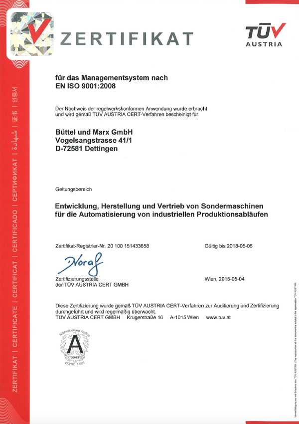 Certificate TÜV AUSTRIA