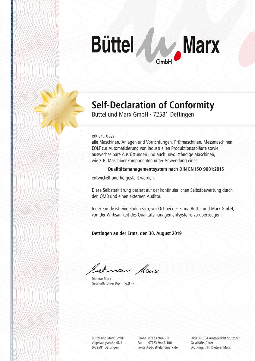Self-Declaration of Conformity